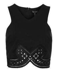 TOPSHOP - Black Pretty Lace Trim Crop Top - Lyst