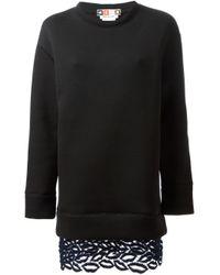 MSGM - Black Lip Embroidered Hem Dress - Lyst
