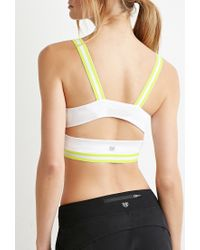 Forever 21 | White Medium Impact - Varsity-striped Sports Bra | Lyst
