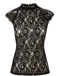 Oasis - Black High Neck Lace T-shirt - Lyst