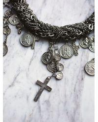 Free People - Metallic Goldbarr Womens Multi Chain Cross Necklace - Lyst