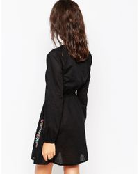 Diya - Blue Long Sleeve Dress With Embroidered Detail - Lyst