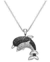 Macy's - Black And White Diamond Accent Dolphin Pendant Necklace In Sterling Silver (1/8 Ct. T.w.) - Lyst