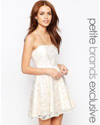 John Zack - White All Over Lace Bandeau Prom Dress - Lyst