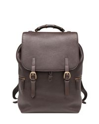 Gucci - Brown Leather Drawstring Backpack - Lyst
