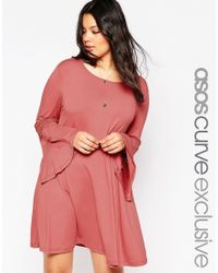 ASOS | Pink Bell Sleeve Swing Dress With Lace Insert Sleeve | Lyst