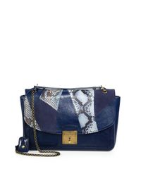 Marc Jacobs Blue Mixedmedia Polly Shoulder Bag
