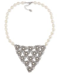 Carolee | Metallic Silver-tone Imitation Pearl And Crystal Bib Necklace | Lyst