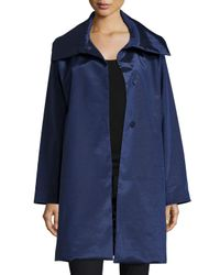 Jane Post | Blue Snap-front High-sheen Coat | Lyst