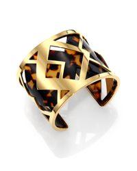 Tory Burch | Metallic Aislin Tortoiseprint Chevron Fret Cuff Bracelet | Lyst