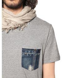 DIESEL - Gray Cotton Jersey T-shirt W/ Denim Pocket for Men - Lyst
