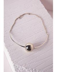Missguided - Metallic Ball Detail Choker Gold - Lyst