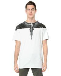 Marcelo Burlon | White Cotton Jersey Alas Print Tshirt for Men | Lyst
