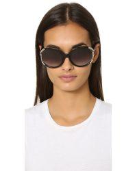 Ferragamo - Black Gancino Vented Sunglasses - Lyst