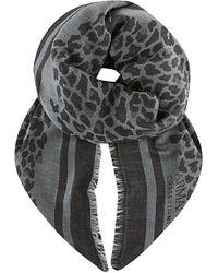 Armani | Gray Leopard Print Frayed Scarf | Lyst