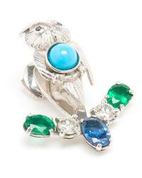 Yvonne Léon | Blue Sapphire, Diamond And Emerald Lobe Earring | Lyst