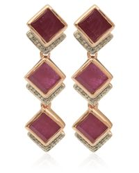 Monica Vinader | Pink Rose Gold Vermeil Ruby Baja Precious Cocktail Earrings | Lyst