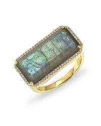 Anne Sisteron - Blue 14kt Yellow Gold Labradorite Diamond Long Rectangle Cocktail Ring - Lyst