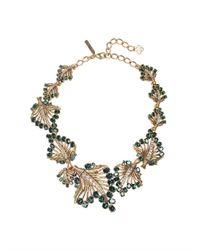 Oscar de la Renta - Metallic Jeweled Leaf Necklace - Lyst