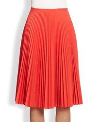 Akris Punto | Red Pleated Midi Skirt | Lyst