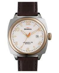 Shinola - Brown 'the Brakeman' Leather Strap Watch for Men - Lyst