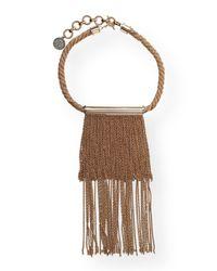 Lanvin - Metallic Twisted Golden Fringe Necklace - Lyst