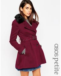 ASOS | Red Petite Skater Coat With Faux Fur Collar | Lyst