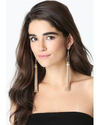 Bebe | Metallic Chain Tassel Earrings | Lyst