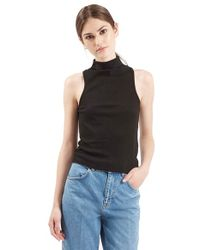 TOPSHOP | Black Ribbed Mock Collar Tank | Lyst