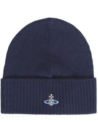 Vivienne Westwood | Blue Orb Beanie Hat for Men | Lyst