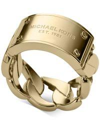Michael Kors - Metallic Curb Chain Logo Plaque Ring - Lyst