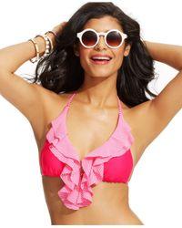 Jessica Simpson | Pink Ruffle-Front Triangle Bikini Top | Lyst