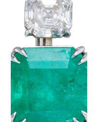 Nina Runsdorf   Green Emerald And Platinum Drop Earrings   Lyst