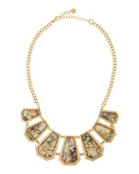 Lydell NYC | Metallic Rhinestone Mother-of-pearl Golden Bib Necklace | Lyst
