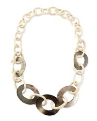 Viktoria Hayman | Brown Wood & Mother-of-pearl Link Necklace | Lyst