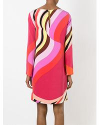 Emilio Pucci | Natural Abstract Print Longlseeved Dress | Lyst