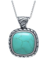 Macy's | Metallic Manufactured Turquoise Square Pendant Necklace In Sterling Silver | Lyst