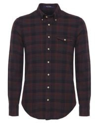 GANT | Brown Merrick Oxford Check Shirt for Men | Lyst