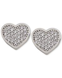 Carolee | Metallic Silver-Tone Crystal Heart Stud Earrings | Lyst