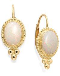 Macy's - Metallic Opal Oval Leverback Earrings In 14K Gold (8X6Mm) - Lyst
