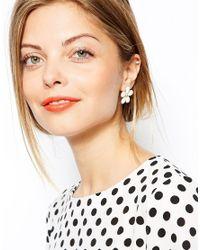 ASOS - White Enamel Flower Earrings - Lyst