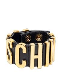 Moschino | Metallic Logo Letting Leather Bracelet | Lyst