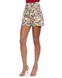 Carolina Herrera - Multicolor High-waisted Parasol-print Shorts - Lyst