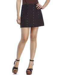 Re:named - Black Studded Faux Suede Mini Skirt - Lyst