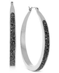BCBGeneration - Metallic Silver-tone Crushed Pyrite Small Hoop Earrings - Lyst