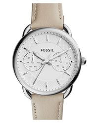 Fossil - Natural 'tailor' Multifunction Leather Strap Watch - Lyst