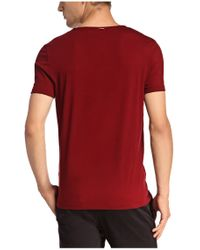 BOSS Orange - Red Cotton T-shirt With V-neck: 'tooley' for Men - Lyst