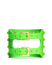 Valentino | Green 'rockstud' Cutout Leather Bracelet | Lyst