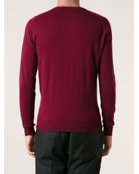 John Smedley - Red Fitted Sweater for Men - Lyst