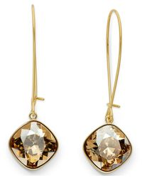 Swarovski | Metallic 22k Gold-plated Thankful Crystal Golden Shadow Drop Earrings | Lyst